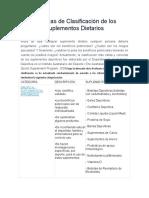 Sistemas de Clasificación de Los Suplementos Dietarios