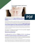 La Importancia de La Confidencialidad y Del Secreto Profesional en Psicoterapia