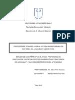Propuesta de Desarrollo de La Lectura Inicial Fundada en Factores Del Lenguaje y Lingüisticos