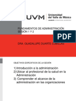 FUNDAMENTOS DE ADMINISTRACIÓN  SESIÓN 1 FISIOTERAPIA,NUTRICIÓN  Febrero 2017
