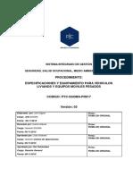 PYC-SSOMA-PR017 Especificaciones Equipos Livianos y Pesados