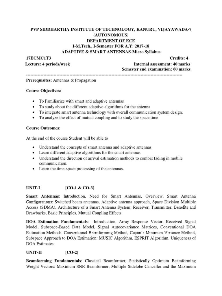 ASA- Micro Syllabus docx | Mimo | Radio Technology
