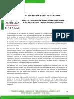 MINISTRO DE ENERGÍA MINAS DEBERÁ INFORMAR ACCIONES TRAS ÚLTIMO DERRAME EN LORETO