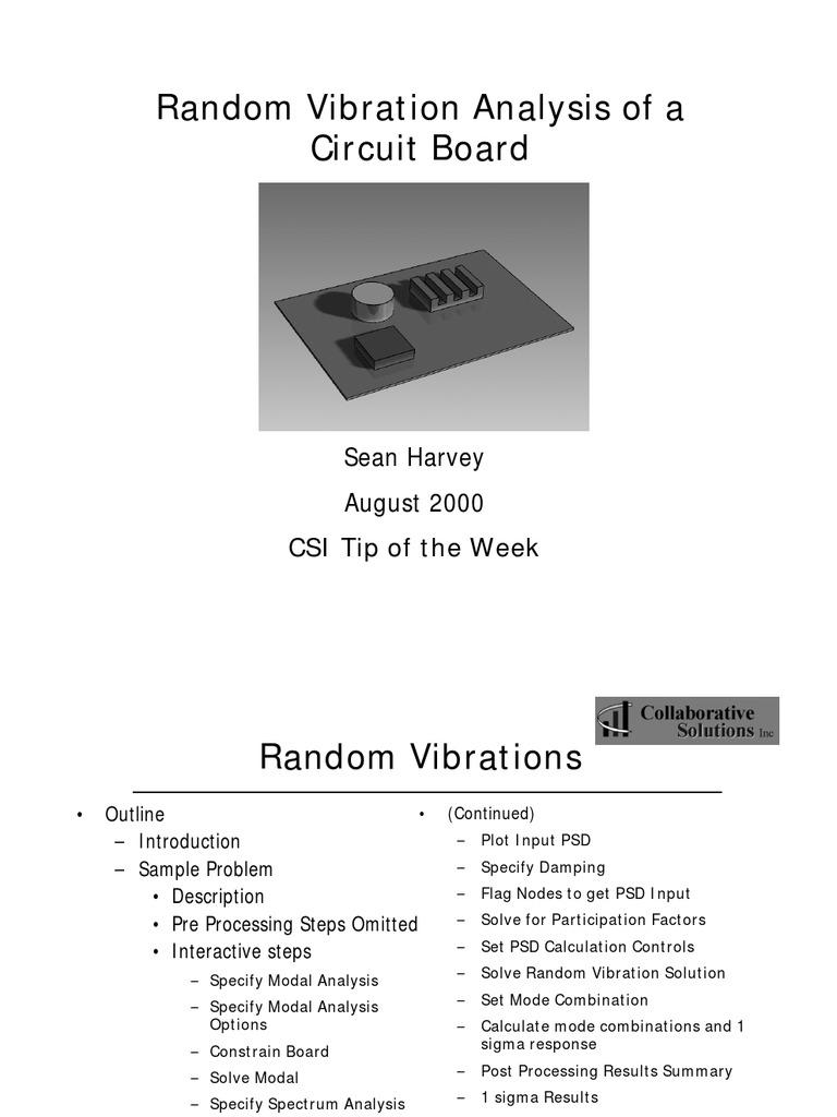 Week23 Random Vibrations Tow Spectral Density Applied And Popular Vibration Circuit Interdisciplinary Physics
