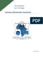 2018 SOS-HGIC Entrance Exam Standards 2017.03.22