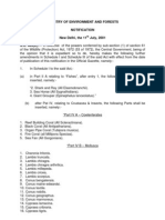 Amendments to Schedule I and Schedule III of the Wild Life (Protection) Act, 1972 (53 of 1972)