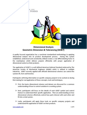 Dimensional Analysis Gd T Syllabus Pdf Technology Cognition