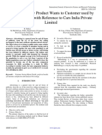 A Study on New Product Wants to Customer Used by Maruti Suzuki With Reference to Cars India Private Limited 1