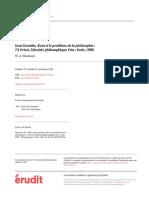 Jean Grondin, Kant et le problème de la philosophie