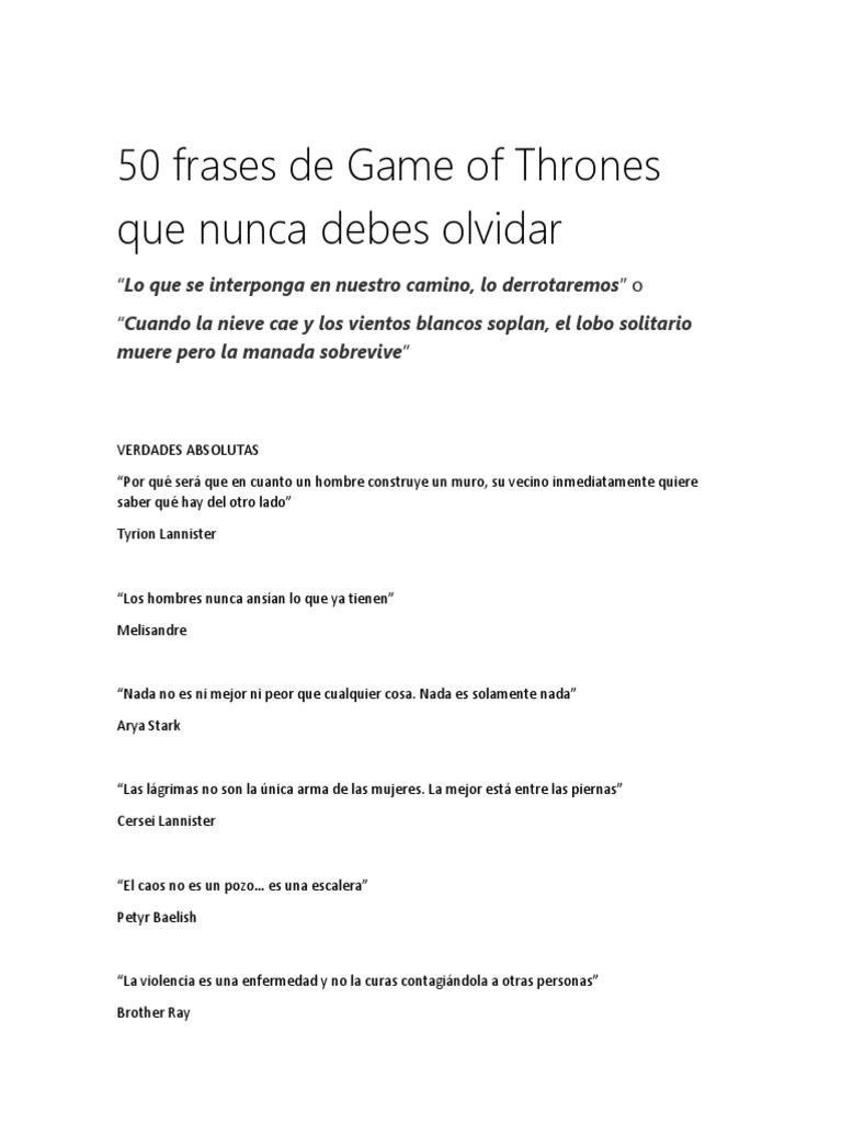 50 Frases De Game Of Thrones Que Nunca Debes Olvidar