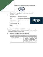 Silabo Formulación de Proyectos de Inversión i
