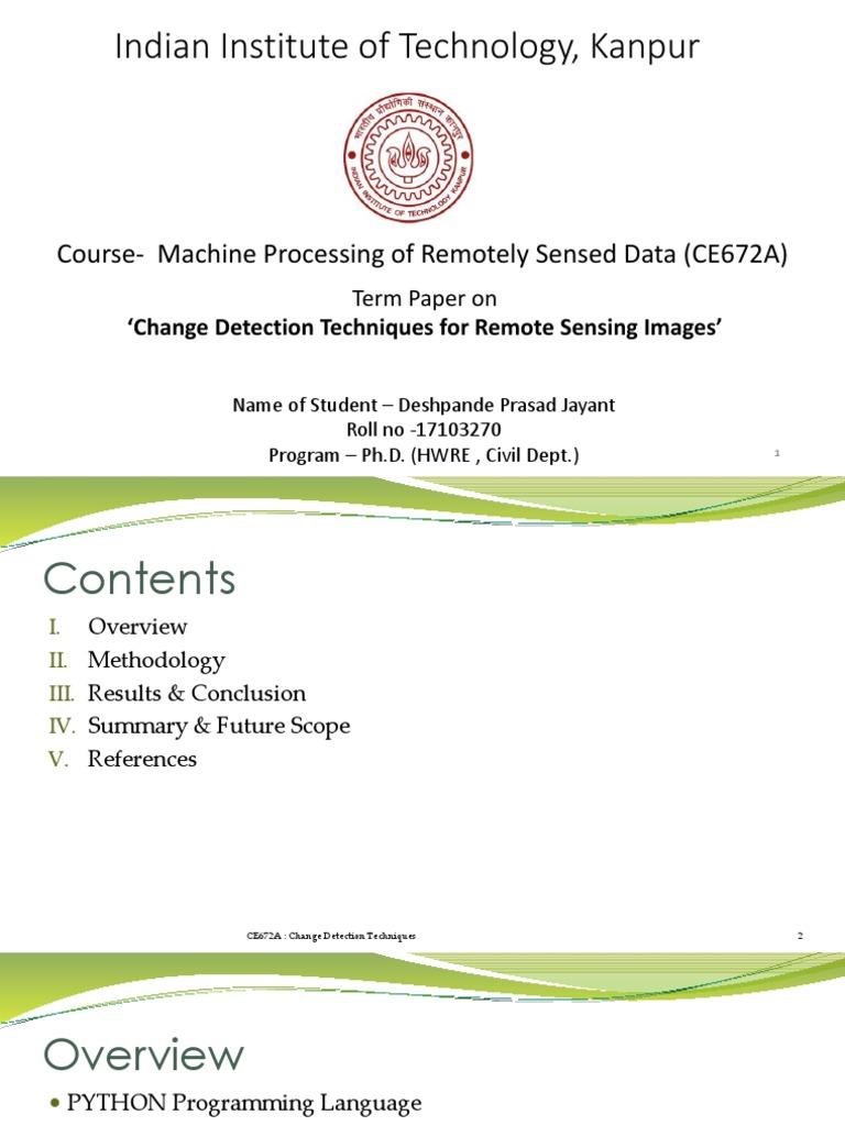 Change Detection Techniques | Principal Component Analysis