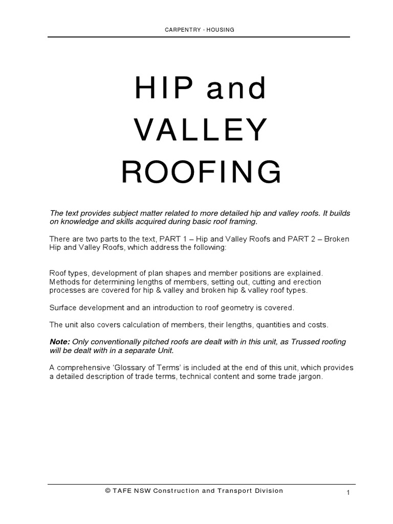 Convention Pitched Roof Tafe Nsw1 Pdf Complete1 Framing Construction Roof