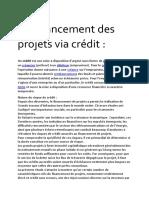 Le Financement Des Projets via Crédit