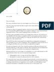 Letter to Legislative Leaders
