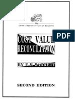 Cost Value Reconciliation F R Barrett