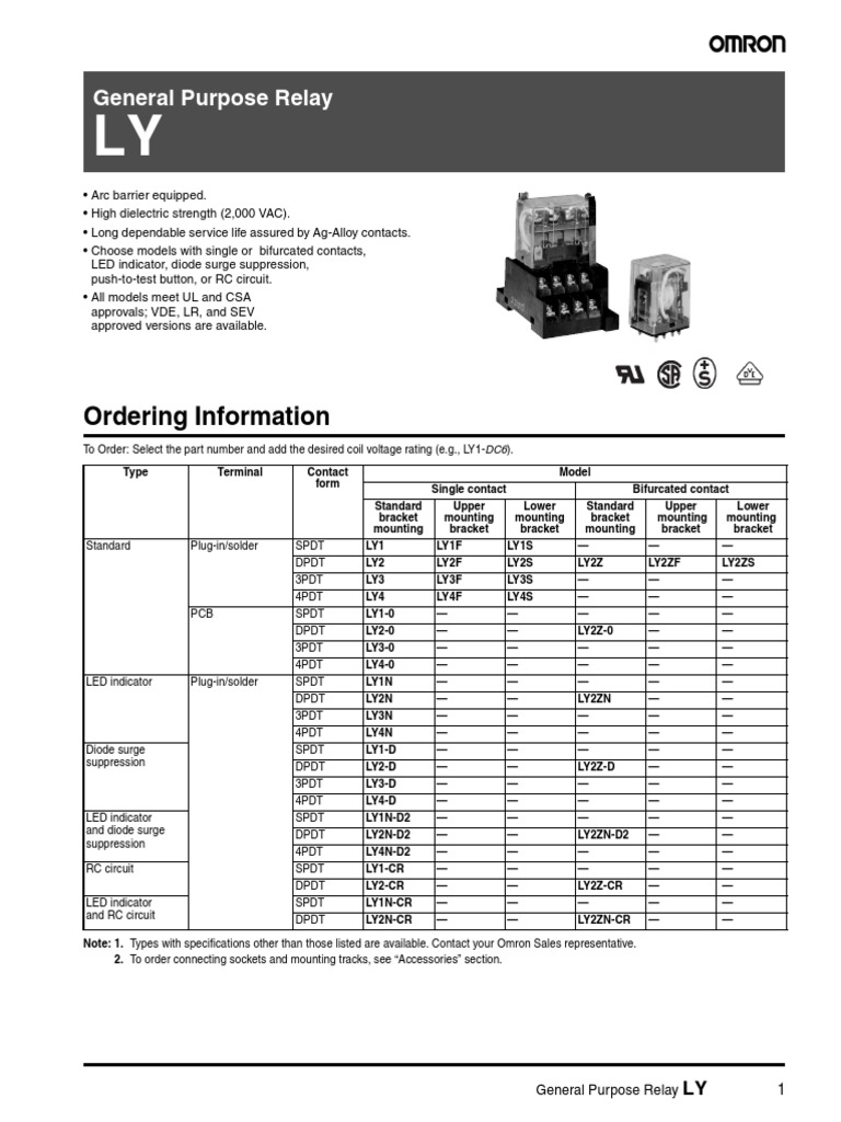 Omron LY2 Data Sheet | Indemnity | Electrical Connector on