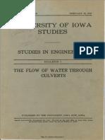 Flow of Water Through Culverts