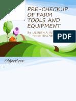 Pre Checkup of Farm Tools and Equipments