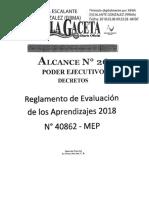 Reglamento de Evaluación de Los Aprendizajes Nº 40862 - MEP 2018