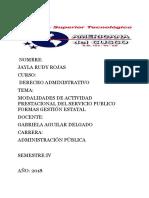 Modalidades Prestacional Servcio Publico y Formas Estatales En