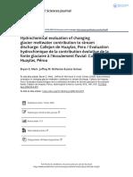 Hydrochemical Evaluation of Changing Glacier Meltwater Contribution to Stream Discharge Callejon de Huaylas Peru Evaluation Hydrochimique de La
