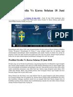 Prediksi Swedia vs Korea Selatan 18 Juni 2018