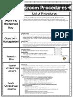 classroom procedure curriculum 2018-2019