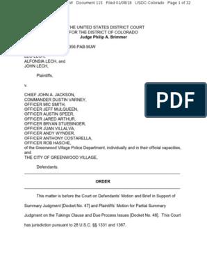 Leo Lech v  Chief John A  Jackson, et  al : Order on