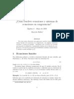 Notas Ecuaciones en Congruencia - Marcelo Rubio