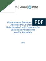 Orientaciones Tecnicas Para El Abordaje de La Urgencia Relacionada Con El Consumo de Sustancias Psicoactivas Uv