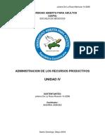 Unidad IV Administracion de Los Recursos Productivos Juliana de La Rosa