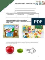 Prueba I Semestre Matemáticas PDF
