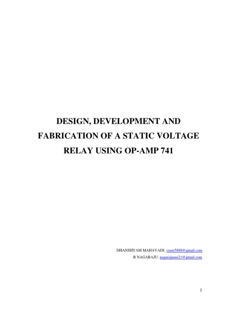 Design Development And Fabrication Of A Static Voltage Relay Using Regulator Equivalent Circuit Analogcircuit Basiccircuit Opamp 741 Operational Amplifier