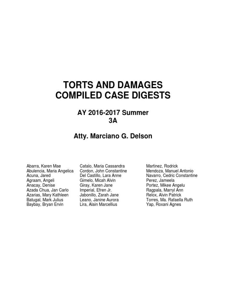 Torts And Damages Compiled Case Digests 3a Summer 16 17 1 Filing Cabinet With Digital Lock Du 11809m Private Law Government Information