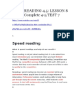 Lesson 8 - Speed Reading