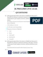 Live Leak - Model Question Paper for SBI Clerk Prelims 2018