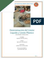 Determinación Del Límite Líquido y Límite Plástico