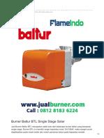Jual Burner Baltur BTL Single Stage Solar