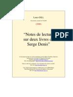 Notes de lecture sur deux livres de Serge Denis