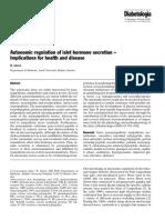 Autonomic Regulation Islet Hormone Secretion