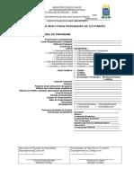 Formulario Para Programa de Extensao Atualizado 2017