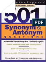 (Skill Builder in Focus) LearningExpress Editors-501 Synonym & Antonym Questions (Skill Builder in Focus.)-LearningExpress, LLC (2002)