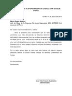 Carta de Otorgamiento de Licencia