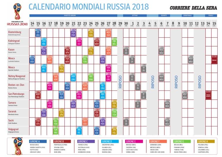 Mondiale Russia Calendario.Russia 2018 Calendario
