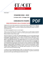 OffOffTheatre - stagione teatrale 2018-2019