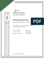 CertificateOfCompletion_R Statistics Essential Training