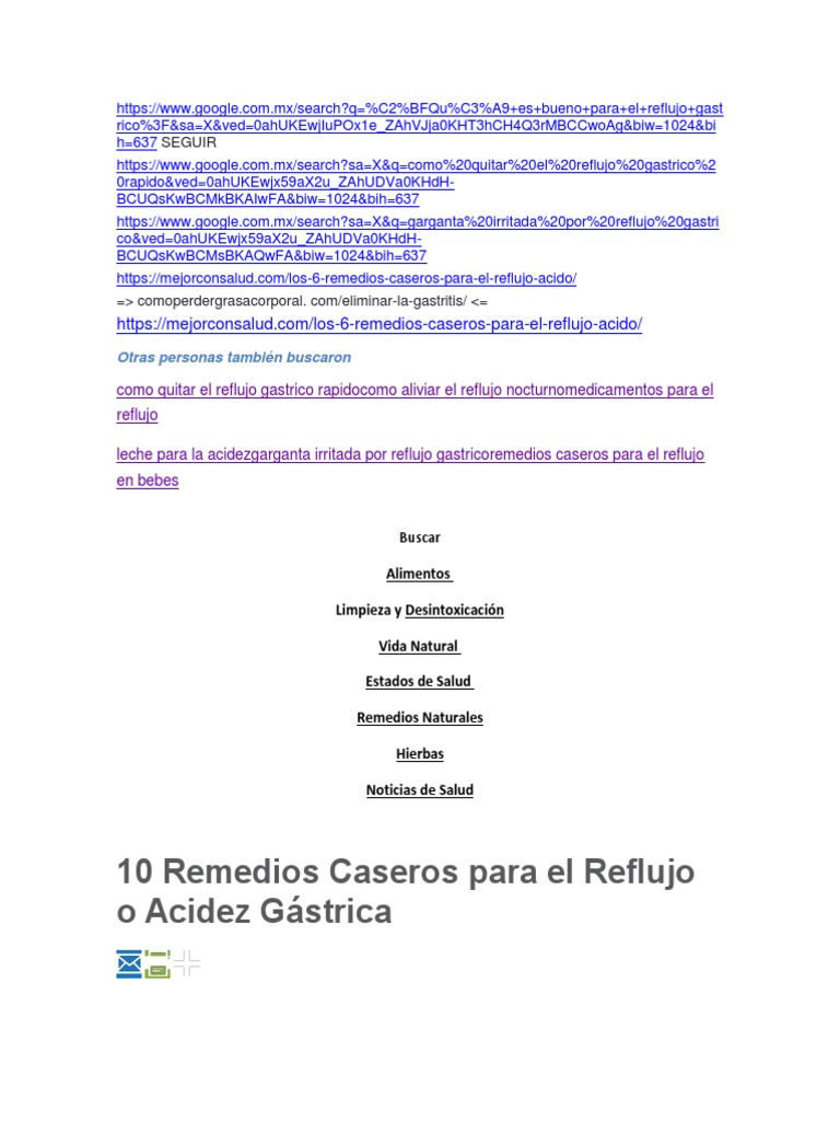 remedios caseros para el reflujo gastrico en bebes