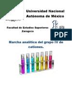 Marcha analítica de Cationes del grupo IV.