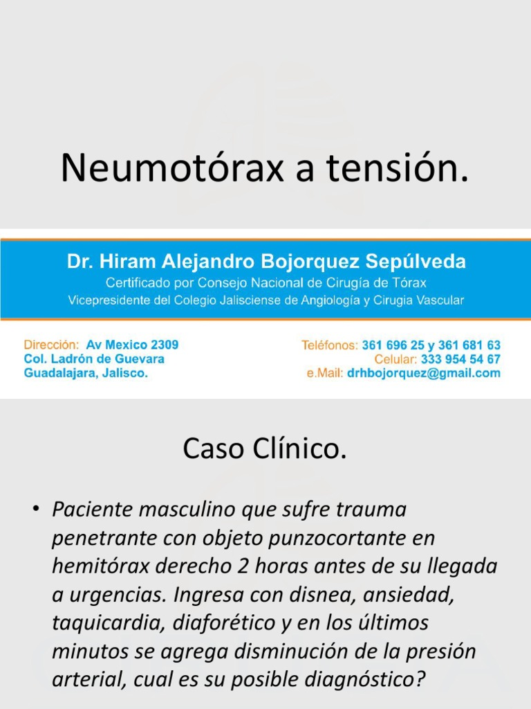 neumotorax a tension caso clinico de diabetes